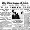 Times of India front page on 15 August, 1947